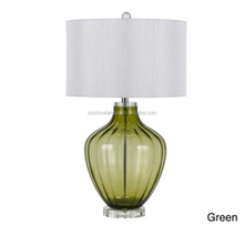 acrylic base green blue crackle glass table lamp with white TC shade