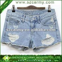 Korean 2012 new design Summer fashion light blue washing jeans Ladies shorts