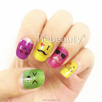 2015 Tiebeauty glitter nail wrap/Girls lovely glitter nail decal
