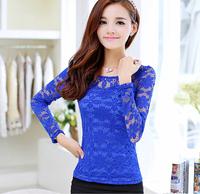 d46863a 2015 fashion women o neck lace blouse hollow out plus size women clothing wear
