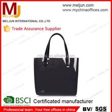 2015 glossy pvc shopping bag for lady , black / red / yellow vinyl tote bag , handbag