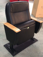 Luxury Conference Hall Fixture Leather Auditorium Chair with Microphone in the armrest