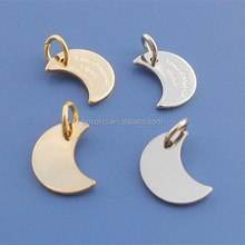first quarter moon shaped metal jewelry tags, personalized bracelet/necklace pendant