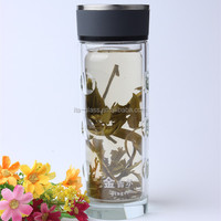 300ml factory cheap price recycled brand names drinking double wall glass mug decorative newly glass coffee tea drinking tumbler