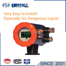 Entirely contactless petrol storage level sensor liquid level meter with probe installed outside tank wall