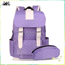 Trendy bags school with leisure pen bag new style girls school bags for high school girls