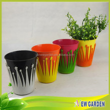 Home Decor Flannelette And Metal Planter,Balcony Small Plastic Flower Pot Trays
