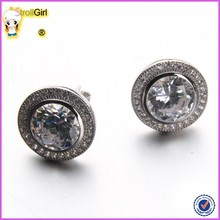 Round Shaped 925 Sterling Silver Stud Earrings White Zircon Platinum Plated Silver Round Earrings