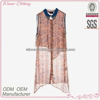 2015 promotional great effect stylish see through pictures of sleeveless blouse
