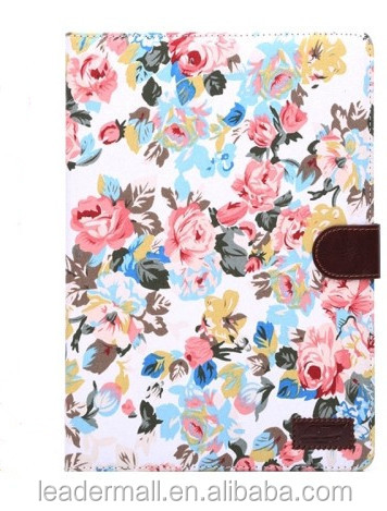 Wholesale Flower Pattern Leather Case with Holder &Card Slots & Sleep Function for iPad Air 2