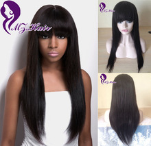 Brazilian Wig With Bangs Long Silk Straight Glueless Full Lace Human Hair Wigs Best Front Lace Wigs Human Hair With Full Bangs