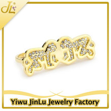 Fashion children double finger ring 14k gold jewelry