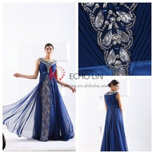 Sexy New Exquisite Style Sleeveless Round Nech Waist Belt Shiny Embroidered Beads Fashion Navy Blue Prom Dresses