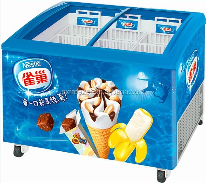 Gelato display congelatore con porta in vetro temperato for Congelatore a pozzetto piccolo