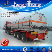 Shandong Aotong 3 axle 50cbm Fuel Tanker / Oil Diesel Carbon Steel Tank Trailer For Sale