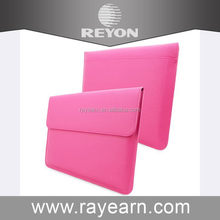 Trad assorance supplier, hot pink PU Leather Sleeve with card slots and pocket for Macbook Air 12 inch