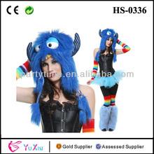 venta al por mayor para adultos azul monster rave traje de capucha peluda sólo sombrero