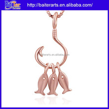 Rose gold pendant necklace 925 sterling silver gold fish pendant charm