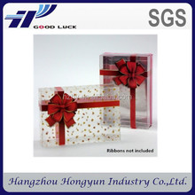 Alibaba China PET PVC PP see-through plastic folding packaging box with hanger for gift / christmas gift / birthday gift