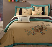 1800 thread count 100Sx120S 230gsm double embroidered woven cotton bed linen
