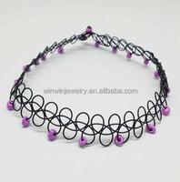 2014 new style handmade tattoo choker necklace plastic tattoo choker with beads charm black choker necklace