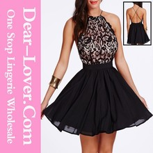 Adult Lady Sexy Cross Back Lace Detail Skater Girls Party Dress
