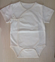 fashion embroidery YKK button short sleeves organic cotton baby onesie