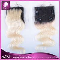 Top Grade Virgin Human Hair Lace Closure With Clips, #1B/613 Ombre body wave Hair Top Closures Free/Middle/3 Part Hair Closure