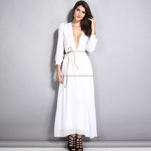 Pure White Layered Sheer Ruffling Deep V Neck Maxi Dress With Slit PW-LC.6595