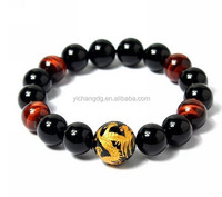 2mm Men's Natural Tiger Eye Agate Bracelet 16mm (Golden Color) Dragon King Pattern Bead
