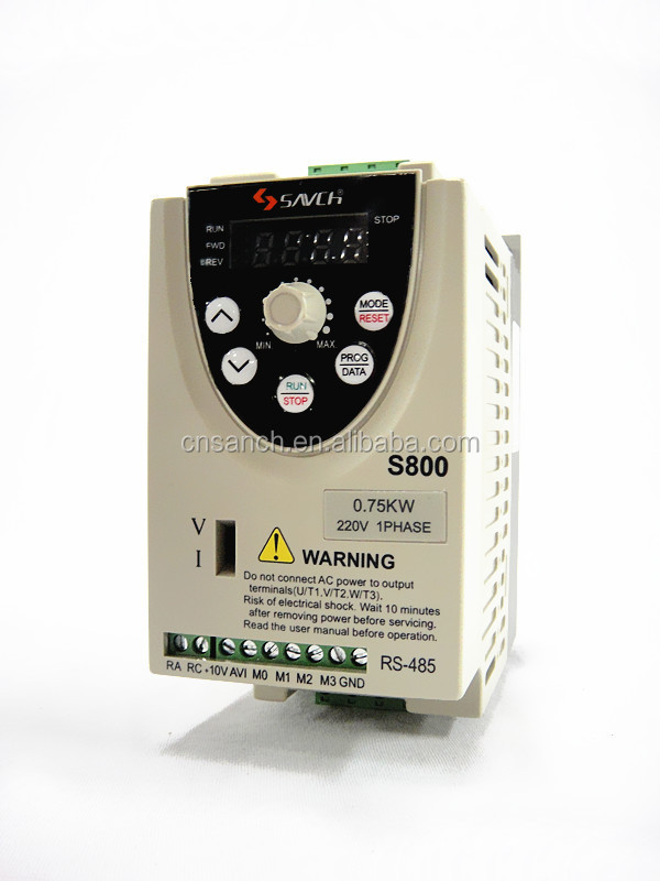 economic type 0.2 ~1.5kW ISO90001 CE 220v single phase to 3 phase ac variable frequency drive for induction motor