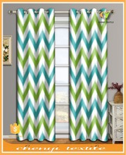 100% polyester colorful wavy design printed thermal blackout curtain design by fashion home textile