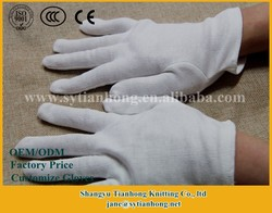 Factory outlet 100% white cotton fabric gloves