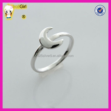 Hot sale classic 925 sterling silver rings fashionable solid silver moon rings