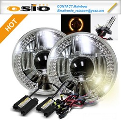 7 inch Round BMC Semi Sealed Beam with Projector Lens LED Halo Ring Auto Halogen headlight Install H4 or HID H4 Xenon Bulb