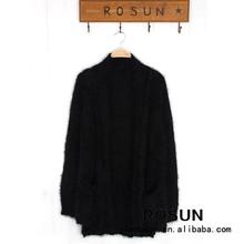 2015 Irregular hem pure color long sleeve short before long after cardigan sweater