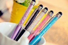 Latest popular metal ball pen with colorfull crystal stylus