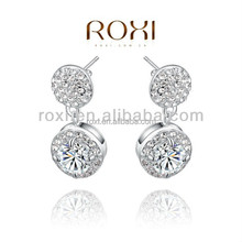 2015 New ROXI Platinum Plated Round Austrian Crystal Stud Earrings Jewelry Silver Metal Plated Earrings