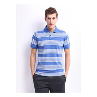 Wholesale cheap blue and white stripe polo shirt