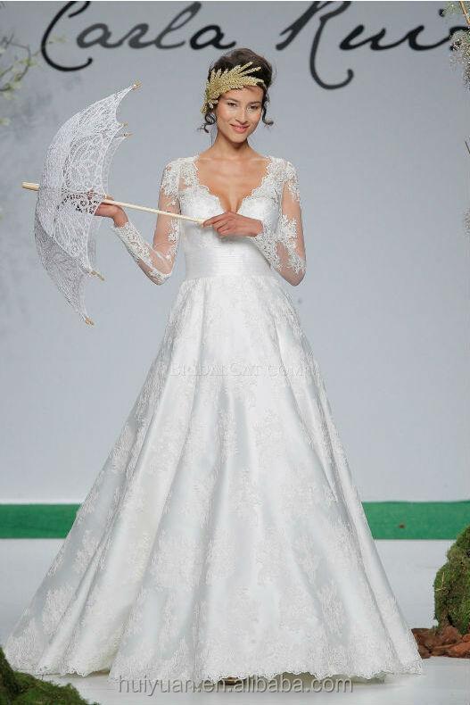 vestido de novia blanco hijab profundo escote en V de encaje vestido ...