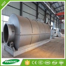 Waste tire rubber pyrolysis to diesel equipment with auto feeding and deslagging system