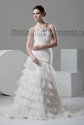 Celebrity Inspired Halter Style 2015 New Design High Quality Beautiful Fashion Wedding Dress