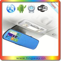 High Quality Android 4.3 inch multi-function car dvr rearview mirror gps