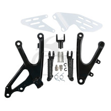 Black Front Rider Footrests Foot Pegs Bracket Set For YAMAHA YZF R1 2007-2008