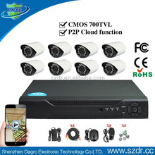 Professional Color 1/4 CMOS 8CH Standalone H.264 DIY CCTV DVR Kit Security Camera Support 3G/4G Phone