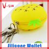 Handy key purse, cute pineapple shape silicone lighted women purse on sale