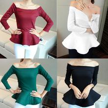 2014 elegante de moda mujer cuello barco de manga larga de algodón color sólido tapas peplum 18818 blusa
