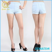 Classical design ice blue denim shorts for girls summer daily wear comfortable hot shorts