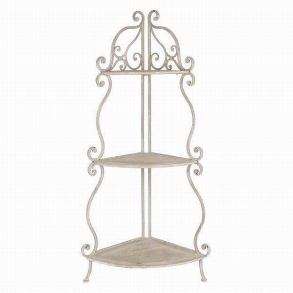 Salon antique blanc en fer forg tag re d 39 angle autres for Etagere d angle salon