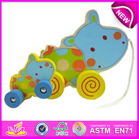 2015 New push wooden toy for kids,Pull Along Baby Wooden Toy for children,hot sale lovely pull and push toy for baby W05B054